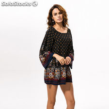 Buenos Ninos Retro Style Baroque Printing Large Size Loose Sleeves Positioning