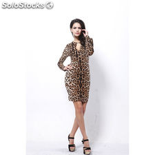 Buenos Ninos Sexy Leopard Print Package Buttocks Skirt Long Sleeve Dress Slim