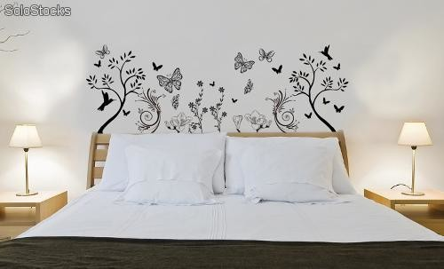 Cabecero floral colibris sticker decoracion paredes sticker - Decoracion vinilo pared ...