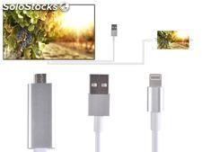 Cable Adaptador hdmi tv hdtv y Cable usb 1080P para iPhone 5C, 5S, se, 6, 6 Plus