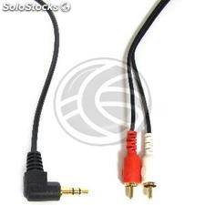 Cable de audio estereo de 3,5 mm macho ángulo a 2 RCA macho de 1,8 m (TW51)