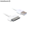 Cable delock para iphone / ipad / ipod cable usb datos y carga 1.8m blanco