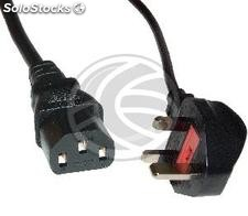 Cable eléctrico British Standard BS-1363-1 a IEC-60320-C13 3x1.00mm² de 1.8m