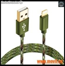 Cable micro USB 8 Pin 2 en 1 Sync Datos carga Cable USB para iPhone 5 6s