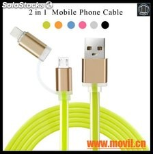 Cable micro USB Cable 2 en 1 cables de carga para el iPhone 5 5S 6 6S