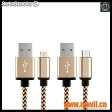 Cable Micro USB con Metal Shell Cable cargador para iPhone 5 5S 6 6S Plus