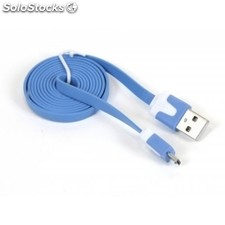 Cable pc omega plano microUSB-usb 2.0 tablet 1M Azul