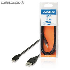 Cable Usb 2.0 Usb A Macho - Usb Micro B Macho 3,00 M En Color Negro