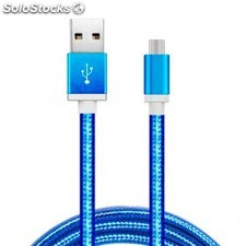 cable usb a micro usb 5 pines (carga & transferencia) metal azul 1m biwond