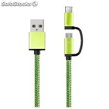 Cable usb a Micro usb y usb c Ref. 101134 | Verde