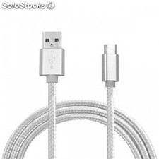 cable usb a tipo c (carga & transferencia) metal plata 1m biwond PEC03-14158