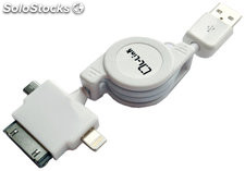 Cable usb retractil 3 en 1 iphone/ipad - micro usb y lightning (iphone 5)