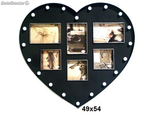 cadre photo mural p le m le c ur noir. Black Bedroom Furniture Sets. Home Design Ideas