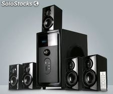 Caixa De Som 5.1 Subwoofer Hi-fi com usb sd FM led display 140w Rms