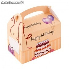"Caja infantil cartulina - ""happy birthday"" 17x16x10 cm cuatricomia cartoncillo"