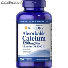 Calcio absorbible 100 capsulas 1200 mg con vitamina d 1000 iu