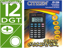 Calculadora citizen bolsillo et-220 12 digitos doble pantalla con tecla de
