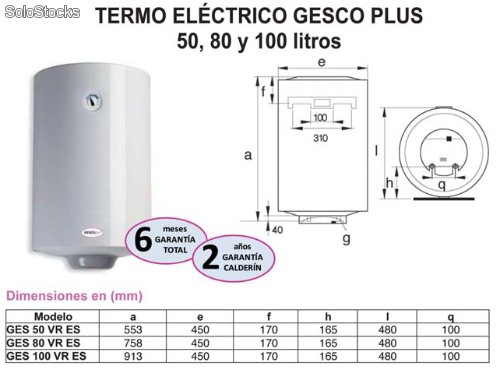 Calentador electrico gesco plus 80 litros - Termo electrico ariston 80 litros ...