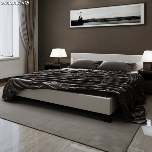 cama de matrimonio con cabecero de cuero blanco artificial 180 x 200 cm. Black Bedroom Furniture Sets. Home Design Ideas