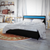 Cama doble de matrimonio, cuero negro artificial con LED, 200 x 180 cm