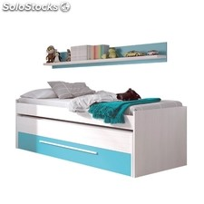 Cama doble juvenil Cyan - Color - Blanco line - Azul