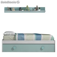 Cama doble juvenil Snuba - Color - Blanco LineVerde Acqua