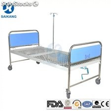 Cama hospital manual acero inoxidable de una sola manivela