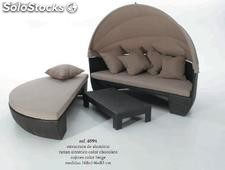 Cama lounge rattan chocolate combi