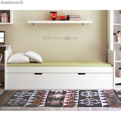 Cama nido madera color blanco en kit barata for Camas de dos plazas baratas