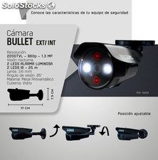 Cámara bullet 1.3 MP, 2200 tvl, 2 leds alarma luminosa,