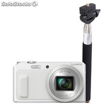 Cámara de fotos compacta Panasonic Lumix DMC-TZ57EG-W + palo selfie Full HD 16Mp