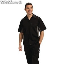Camisa contraste negra y gris chef works A948-XS