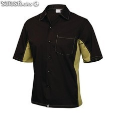 Camisa contraste negra y lima chef works A947-XS