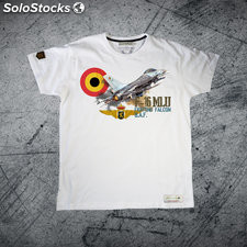 Camiseta F-16 MLU Fighting Falcon B.A.F Premium. Blanco L