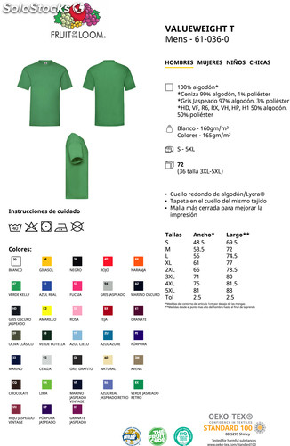 876502d1d Camiseta promocional hombre Valueweight Fruit Of The Loom m c color - Foto 2