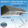 Campana extractora industrial de Pared de 2400x750x450 mm.
