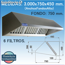 Campana extractora industrial de Pared de 3000x750x450 mm.