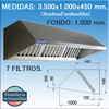 Campana extractora industrial de Pared de 3500x1000x450 mm.