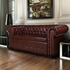Canapé Chesterfield 2 places en cuir mélangé marron