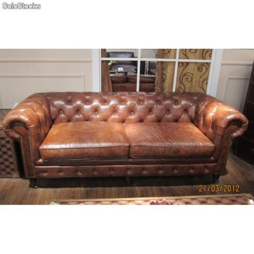Canape Chesterfield Cuir 3 Places