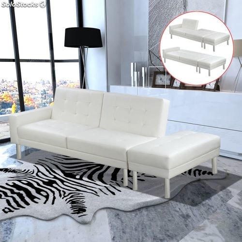 canap convertible modulable canap convertible modulable en cuir artificiel blanc produits france. Black Bedroom Furniture Sets. Home Design Ideas