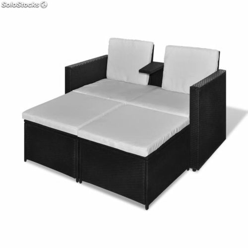 canap de 2 places et 2 repose pieds noirs. Black Bedroom Furniture Sets. Home Design Ideas