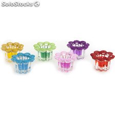 Candelabro flor purpurina - 6 colores surtidos - b and b - 8430026912599 - 57685