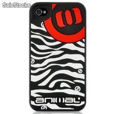 Capa Silicona Contour Design Animal Zebra iPhone 4 e 4s - Preta