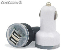 Cargador doble de coche usb 2A color blanco