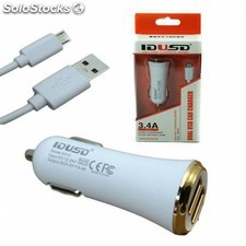 Cargador mechero de coche doble 3.4 a micro usb movil