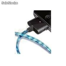 Cargador usb cable con luz led Negro