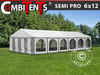 Carpa para fiestas, SEMI PRO Plus CombiTents® 6x12m 4 en 1, Blanco/Gris