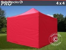 Carpa plegable 4x4 m Pro Pack, Incl. 4 lados, rojo