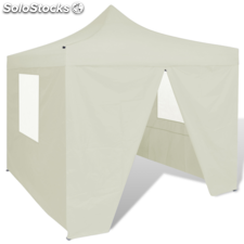 Carpa plegable con 4 paredes laterales color crema, 3 x 3 metros